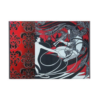 ART NOUVEAU PAN , RED BLACK WHITE DAMASK ,Ruby Case For iPad Mini