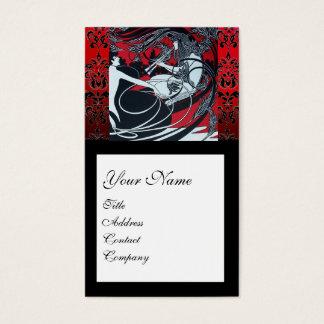 ART NOUVEAU PAN , RED BLACK WHITE DAMASK SQUARE BUSINESS CARD