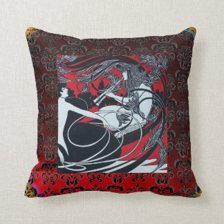 ART NOUVEAU PAN , RED BLACK WHITE DAMASK THROW PILLOW