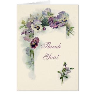 Art nouveau pansies Thank You card