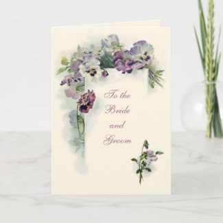 Art nouveau pansies Wedding Congratulations card