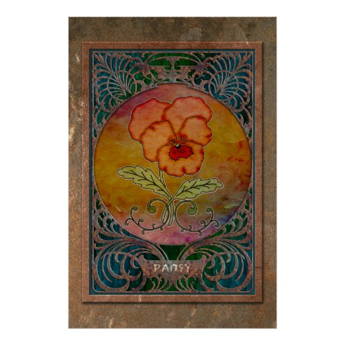 Art Nouveau Pansy in a Coppery Mucha Frame Poster