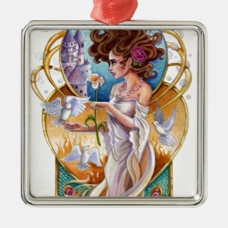 Art Nouveau Passionate Dreamer Labyrinth Metal Ornament