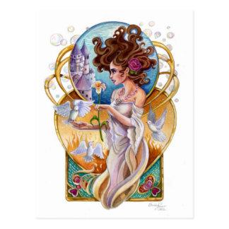 Art Nouveau Passionate Dreamer Labyrinth Postcard