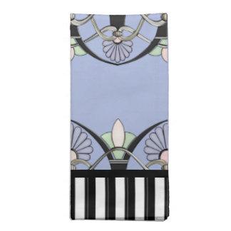 Art Nouveau Pastel Shells, Lilies & Black Stripes Napkin