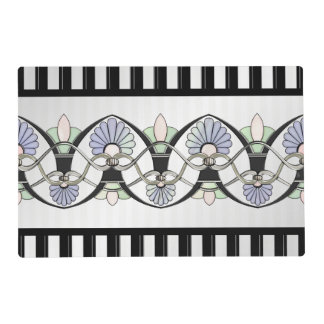 Art Nouveau Pastel Shells, Lilies & Black Stripes Placemat
