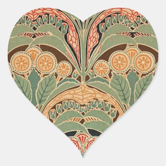 Art Nouveau Pattern #3 at Emporio Moffa Heart Sticker