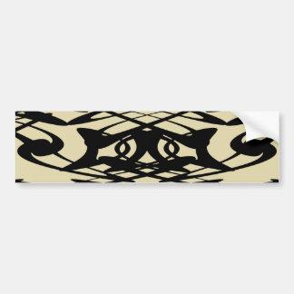 Art Nouveau Pattern in Beige and Black. Bumper Sticker
