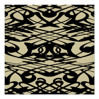 Art Nouveau Pattern in Beige and Black. Print
