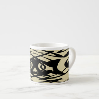 Art Nouveau Pattern in Beige and Black. Espresso Cups