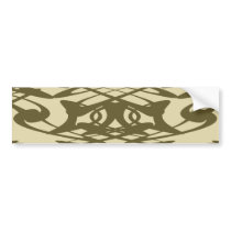 Art Nouveau Pattern in Beige and Brown. Bumper Sticker