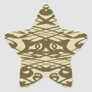 Art Nouveau Pattern in Beige and Brown. Star Sticker