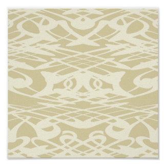 Art Nouveau Pattern in Beige and Cream. Poster