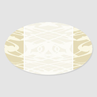 Art Nouveau Pattern in Beige and Cream Oval Stickers