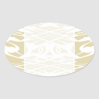 Art Nouveau Pattern in Beige and White Oval Stickers
