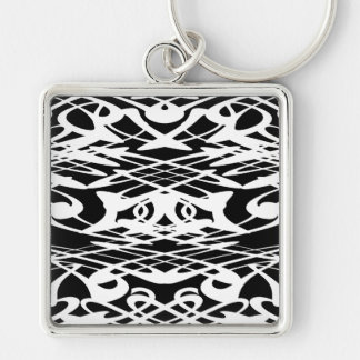Art Nouveau Pattern in Black and White. Keychain