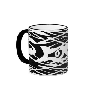 Art Nouveau Pattern in Black and White. Mugs