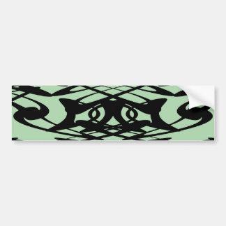 Art Nouveau Pattern in Green and Black. Bumper Sticker