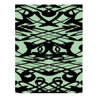 Art Nouveau Pattern in Green and Black. Postcard