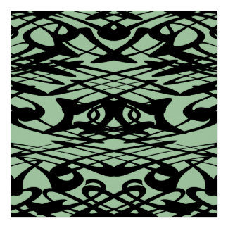 Art Nouveau Pattern in Green and Black. Poster