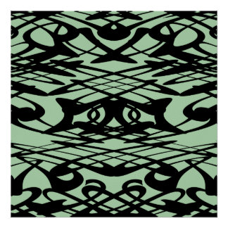 Art Nouveau Pattern in Green and Black. Print