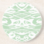Art Nouveau Pattern in Light Green and White. Beverage Coasters
