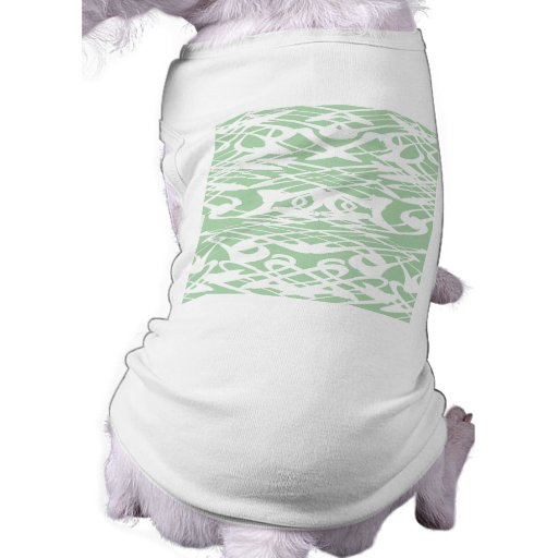 Art Nouveau Pattern in Light Green and White. Pet T-shirt