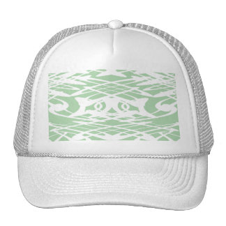 Art Nouveau Pattern in Light Green and White. Hats