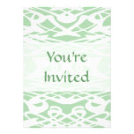 Art Nouveau Pattern in Light Green and White. Personalized Invitation