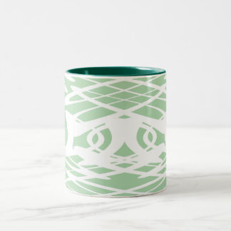 Art Nouveau Pattern in Light Green and White. Two-Tone Coffee Mug