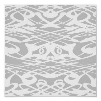 Art Nouveau Pattern in Pale Gray and White. Posters