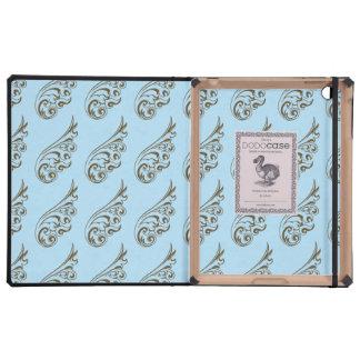 Art nouveau pattern light blue brown cases for iPad
