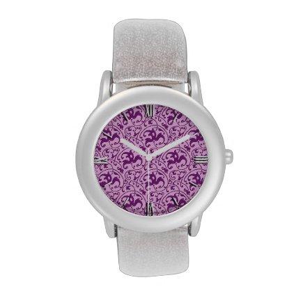 Art Nouveau pattern, plum on orchid Wrist Watches