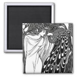 Art Nouveau Peacock Artwork - The Kiss 2 Inch Square Magnet