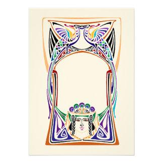 Art nouveau peacock design custom invite