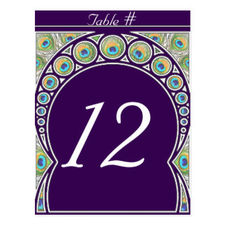 Art Nouveau Peacock Feather Table Number Postcard