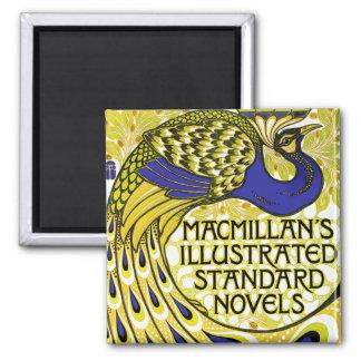 Art Nouveau:  Peacock Illustration 2 Inch Square Magnet