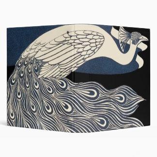 Art Nouveau Peacock Poster 3 Ring Binder
