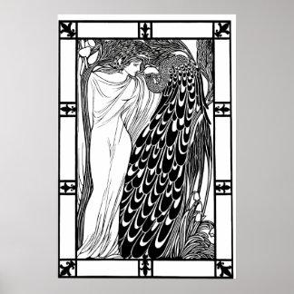 Art Nouveau Peacock Poster - The Kiss