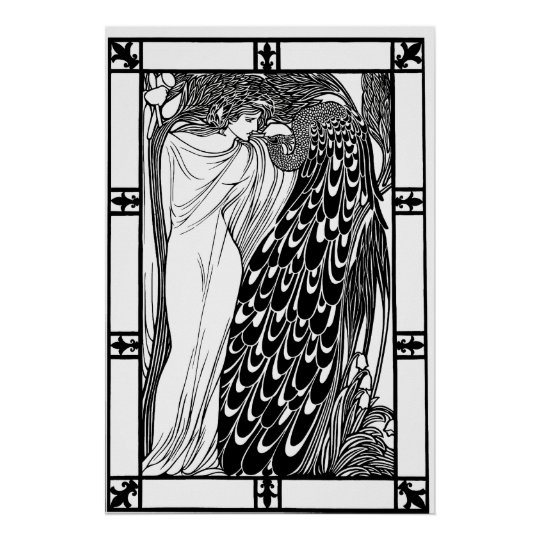 Art Nouveau Peacock Poster - The Kiss