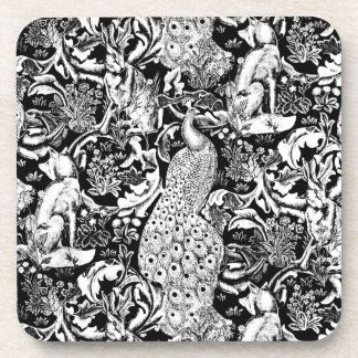 Art Nouveau Peacock Print, Black and White Beverage Coaster