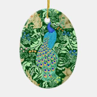 Art Nouveau Peacock Print, Cobalt Blue & Green Ceramic Ornament