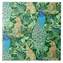 Art Nouveau Peacock Print, Cobalt Blue & Green Ceramic Tile