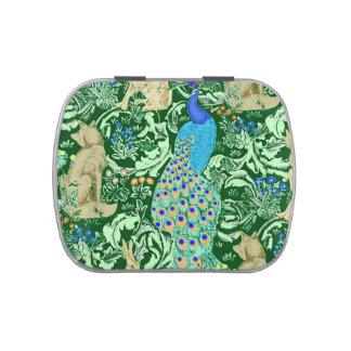 Art Nouveau Peacock Print, Cobalt Blue & Green Jelly Belly Candy Tin