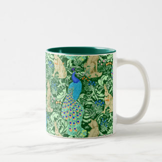 Art Nouveau Peacock Print, Cobalt Blue & Green Two-Tone Coffee Mug
