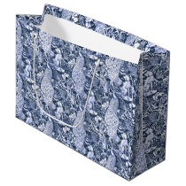 Art Nouveau Peacock Print, Navy and White Large Gift Bag
