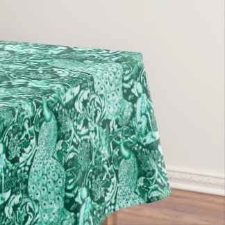 Art Nouveau Peacock Print, Turquoise and Aqua Tablecloth