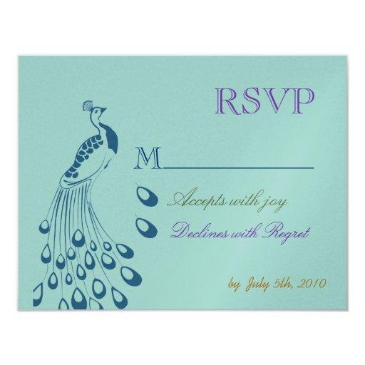 "Art Nouveau Peacock RSVP 4.25"" X 5.5"" Invitation Card"