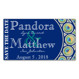 Art Nouveau Peacock Save the Date Magnets Business Card Magnet