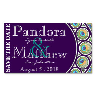 Art Nouveau Peacock Save the Date Magnets Magnetic Business Card